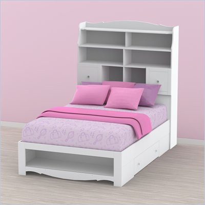 Nexera Pixel Full Storage Bed and Tall Bookcase Headboard Set in White