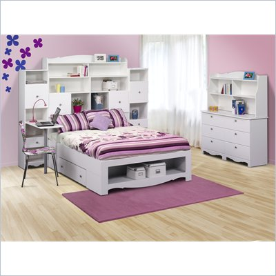 Nexera Pixel Full Storage Bed 6 Piece Bedroom Set in White