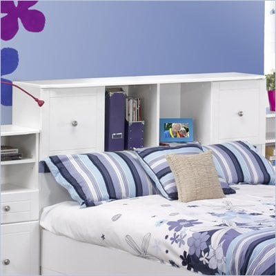 Nexera Pixel Full Low Bookcase Headboard in White