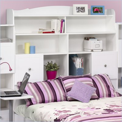 Nexera Pixel Full Tall Bookcase Headboard in White