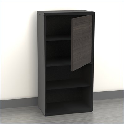 "Nexera Sereni-T 38"" 1 Door Bookcase in Black and Ebony"