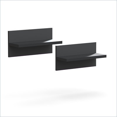 Nexera Sereni-T Wall Shelves in Black (Set of 2)