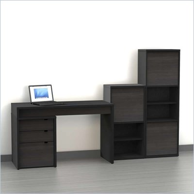 Nexera Sereni-T 4-Piece Modular Workstation in Ebony