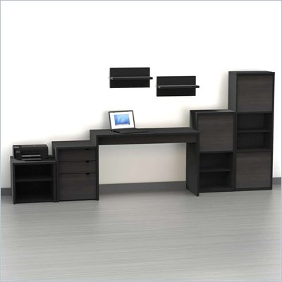 Nexera Sereni-T 7-Piece Modular Workstation in Ebony