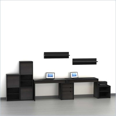 Nexera Sereni-T 8-Piece Modular Workstation in Ebony
