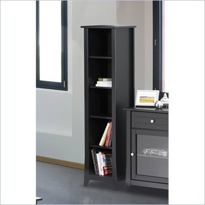 Nexera Tuxedo 60&quot; Slim Bookcase in Black