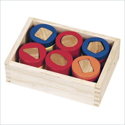 Guidecraft Hardwood Geometric Counting Cylinders