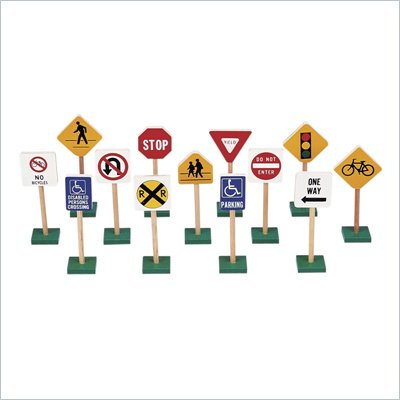 Guidecraft Hardwood 7&quot; Traffic Signs (Set of 13)