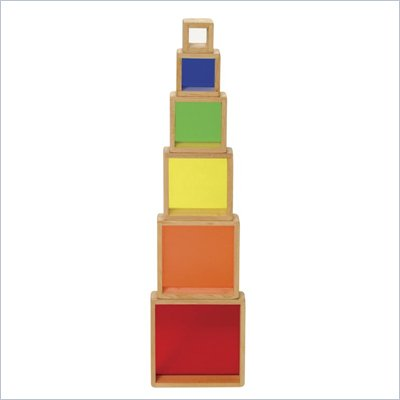 Guidecraft Hardwood frames Stacking Rainbow Pyramid