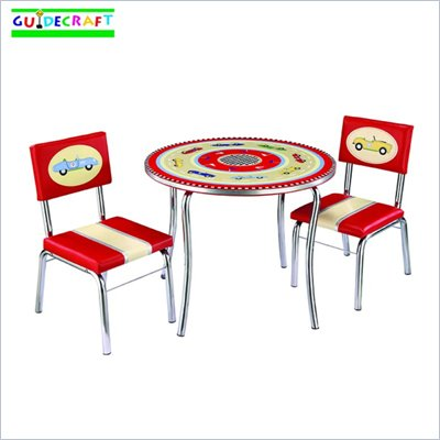 Guidecraft Retro Racers Table &amp; Chairs Set