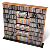 Prepac Triple Width CD DVD Wall Media Storage Tower in Oak and Black