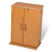 Prepac Locking CD DVD Media Storage Cabinet in Oak/Black