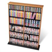 Prepac Double Width CD DVD Wall Media Storage in Oak and Black