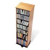Prepac 2-Sided Spinning CD DVD Media Storage Tower in Oak and Black