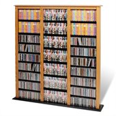 Prepac Triple Width Barrister CD DVD Media Storage Tower in Oak and Black