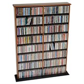 Prepac Double Width CD DVD Wall Storage in Cherry and Black