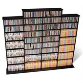 Prepac Quad Width CD DVD Media Storage Wall Unit in Black Finish