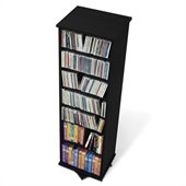Prepac 2-Sided Spinning CD DVD Media Storage Tower in Black