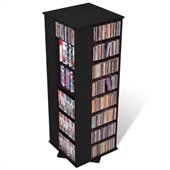 Prepac 4-Sided Spinning CD DVD Media Storage Tower in Black