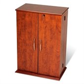 Prepac Locking CD DVD Media Storage Cabinet in Cherry and Black