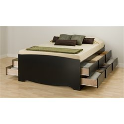 Prepac Black Sonoma Tall Double / Full Platform Storage Bed with 12 Drawers