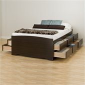 Prepac Manhattan Tall Double Platform Storage Bed in Espresso