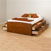 Prepac Monterey Cherry Tall Queen Platform Storage Bed