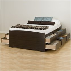 Prepac Manhattan Tall Queen Platform Storage Bed in Espresso