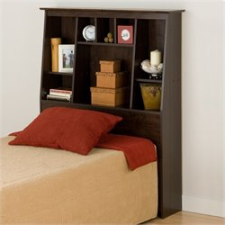 Prepac Slant-Back Tall Twin Bookcase Headboard in Espresso
