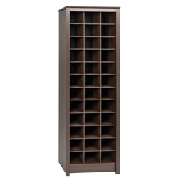 Prepac Space Saving 36 Cubby Shoe Storage Cabinet in Espresso
