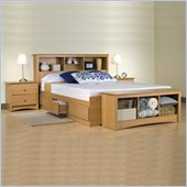 Prepac Sonoma Maple Queen Wood Platform Storage Bed 6 Piece Bedroom Set
