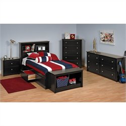 Prepac Sonoma Black Twin Platform Storage Bed 7 Piece Bedroom Set