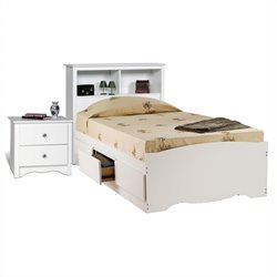 Prepac Monterey White Twin Platform Storage Bed 6 Piece Bedroom Set