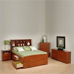 Prepac Monterey Cherry Full Wood Platform Storage Bed 4 Piece Bedroom Set