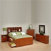 Prepac Monterey Cherry Tall Full Wood Platform Storage Bed 4 Piece Bedroom Set