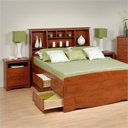 Prepac Monterey Cherry Queen Wood Platform Storage Bed 4 Piece Bedroom Set