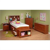 Prepac Monterey Cherry Tall Twin Wood Platform Storage Bed 3 Piece Bedroom Set