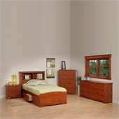 Prepac Monterey Cherry Twin Wood Platform Storage Bed 4 Piece Bedroom Set