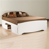 Prepac Monterey Full Platform Storage Bed 6 Piece Bedroom Set in White
