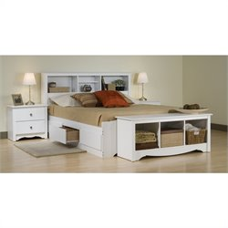 Prepac Monterey White Queen Wood Platform Storage Bed 4 Piece Bedroom Set