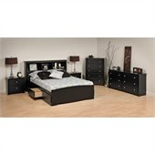 Prepac Sonoma Black Wood Platform Storage Bed 6 Piece Bedroom Set