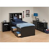Prepac Sonoma Black Tall Twin Wood Platform Storage Bed 4 Piece Bedroom Set