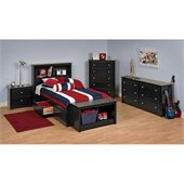 Prepac Sonoma Black Twin Wood Platform Storage Bed 4 Piece Bedroom Set