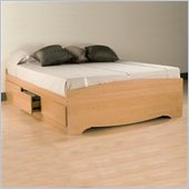 Prepac Sonoma Maple Full Wood Platform Storage Bed 4 Piece Bedroom Set