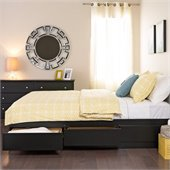 Prepac Black Sonoma Double / Full Platform Storage Bed with 6 Drawers