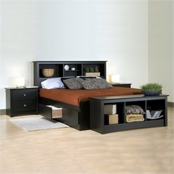 Prepac Sonoma Black Wood Platform Storage Bed 3 Piece Bedroom Set