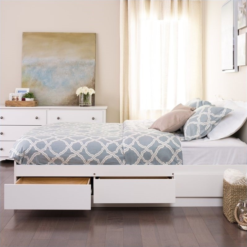 Monterey White Queen Platform Storage Bed Wbq 6200