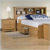 Prepac Sonoma Maple Double Platform Captain Storage Bed Set