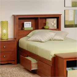 Prepac Monterey Twin Bookcase Bookshelf Headboard in Cherry