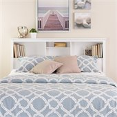 Prepac Monterey Full / Queen Bookcase Headboard in White Finish
